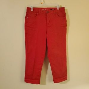 Red Capri Jean Pants